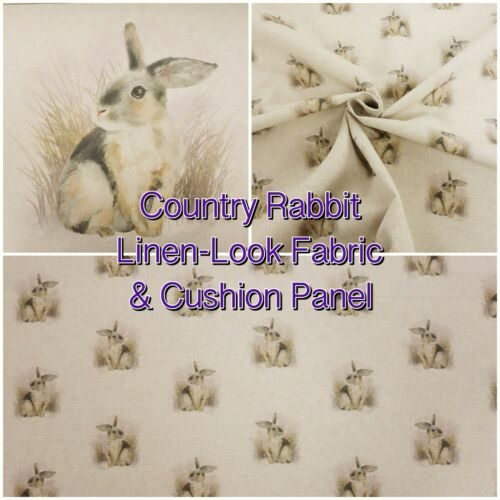 Panels Country Rabbit Cute Woodland Animal Linen-Look Cotton-Rich Fabric NEW