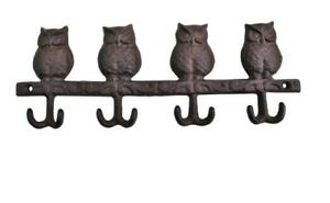 Owl-Wall-Hooks-Cast-Iron-Rustic-Distressed-Coat-Storage-4-Double-Hooks