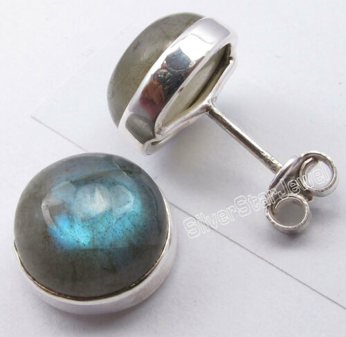 925 Solid Silver Genuine Gemstone Highly Polished STUD Earrings Made In India