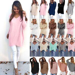 Damen-Pullover-Langarm-Oberteile-Sweatshirt-Pulli-Longshirt-Long-Tops-Gr-34-48