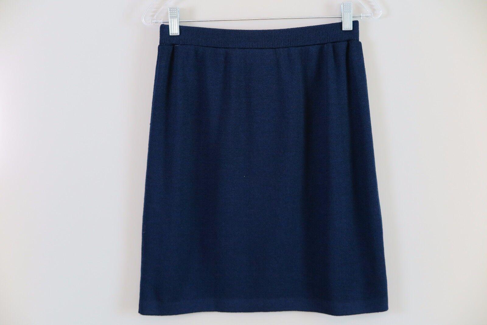 ST. JOHN COLLECTION Navy bluee Santana Knit Straight Skirt Size 6 Made in USA