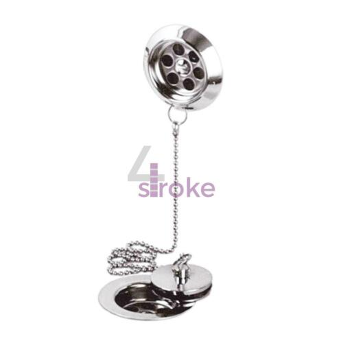 Chrome Retainer Bath Tub Waste Drain with Brass Plug /& Overflow and Ball Chain