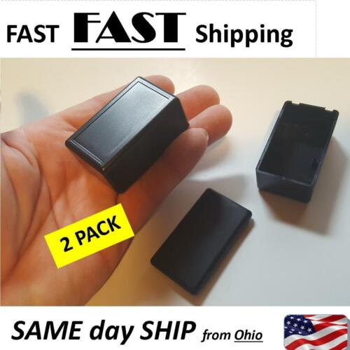 2 x small black plastic project box