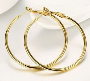 14K-Yellow-Gold-Filled-Round-Shiny-Runway-Tube-Hoop-Earrings-ITALY-MADE