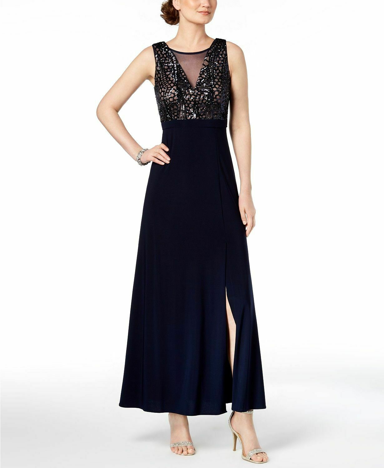 NIGHTWAY WOMEN'S blueE SEQUINED ILLUSION MESH GOWN SLEEVELESS DRESS SIZE 10
