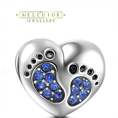 NEW BORN BABY FOOT PRINT BALL CHARM SILVER PLATED PAVED EUROPEAN CHARM BRACELET