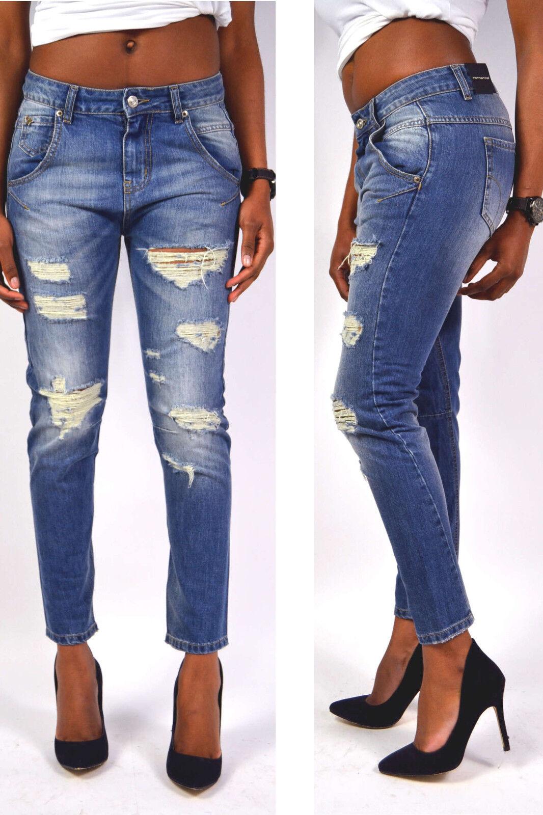Fornarina Jeans MOON Boyfriend Jeansblue Ripped 100% Baumwolle NEU