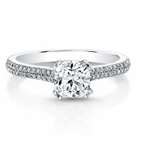 0.71 Ct Real Natural Diamond Engagement Ring 14k White Gold Cushion Cut Size M P