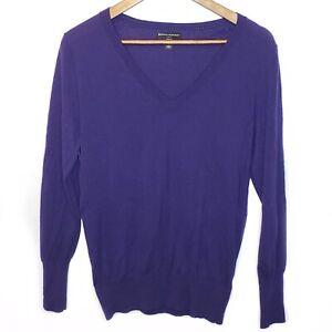 Banana-Republic-Women-039-s-Sweater-Merino-Wool-Purple-Long-Sleeve-V-Neck-Large