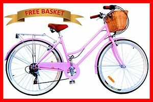 BRAND-NEW-VINTAGE-RETRO-LADIES-BEACH-CRUISER-BICYCLE-BIKE-BASKET-6-SPEED-PINK