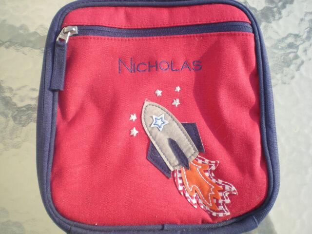 Boy Monogrammed Rocket Pottery Barn Kids Lunch Bag Box