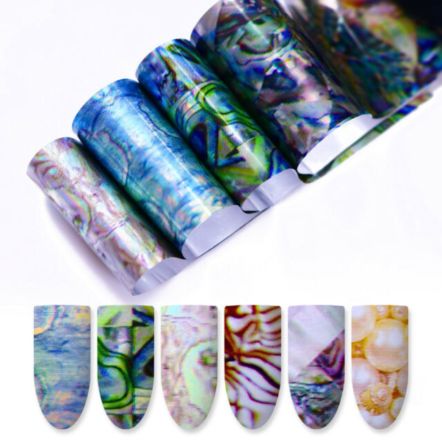 8sheets Holographic Gradient Nail Art Transfer Foil Stickers Marble