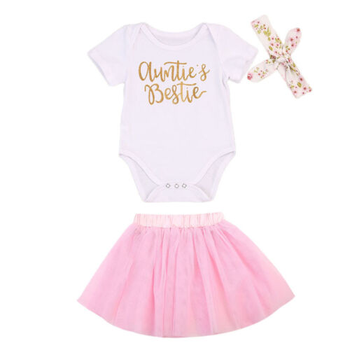 Newborn Baby Girl Clothes Auntie/'s Bestie Romper+Tutu Skirts Party Outfits 0-18M