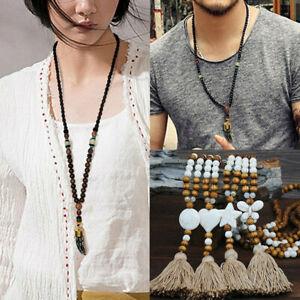 Pendant-Mala-Ethnic-Buddhist-Fish-Necklace-Horn-Handmade-Nepal-Bead-Jewelry-Long