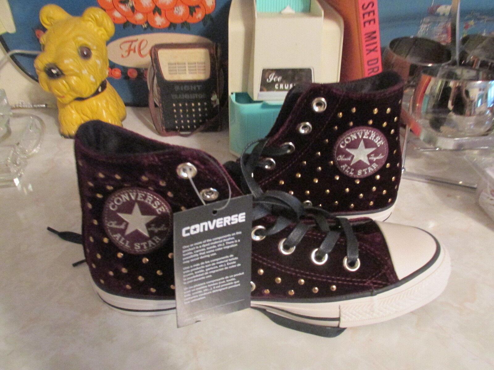 Converse All Star Sangria Velvet Studs High Top Sneakers Size 6 M Women's NWOB