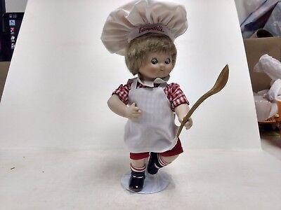 Campbells Enfants 11in Porcelaine Dancing Chef Rouge Blanc Avec Cuillère Stand Poupées Mannequins, Mini