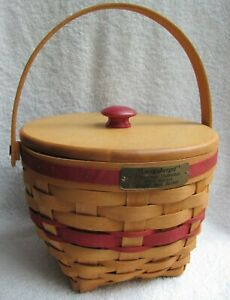 Longaberger 1994 Jingle Bell Basket WoodCrafts Lid Red Knob
