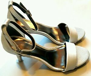 New-Womens-SZ-8-Narrow-White-Open-Toe-3-5-034-Heel-Ankle-Buckle-Strap-Shoes