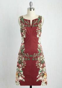 e58b67ccf4d Image is loading Modcloth-Plus-Size-4X-Burgundy-Floral-Sheath-Dress