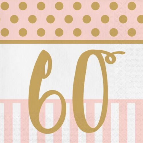 20 x Gold /& Pink Chic 60th Napkins Ladies 60 Birthday Party Tableware Supplies