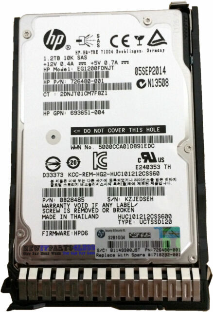 Certified Refurbished EG1200FCVBQ HP 1.2-TB 6G 10K 2.5 DP SAS HDD
