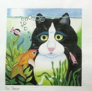 Julie-Mar-Vicky-Mount-So-Near-Cat-amp-Fish-Handpainted-Needlepoint-Canvas