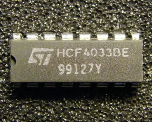 ST Microelectronics 5x HCF4033BE 7-Segment-Output Decade Up Counter