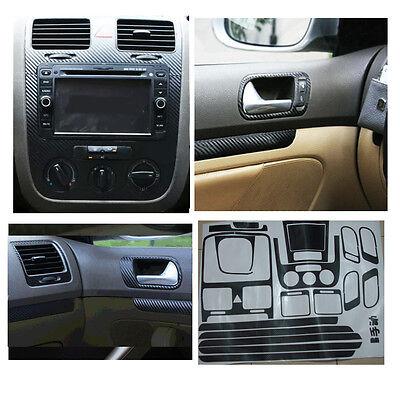 Carbon Fiber Interior Sticker Set Door Handle Console Panel For VW Jetta MK5 MT