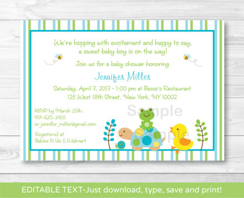 Frog Turtle Duck In The Pond Printable Baby Shower Invitation EDITABLE PDF