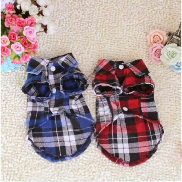 Small Pet Dog Puppy Plaid T Shirt Lapel Coat Cat Shirts Clothes Costume Apperal