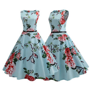 Womens-Floral-Rockabilly-Pinup-50s-Evening-Party-Skater-Swing-Housewife-Dress