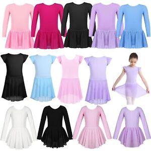Girls-Ballet-Dance-Dress-Gymnastics-Skating-Leotard-Tutu-Skirt-Dancewear-Costume