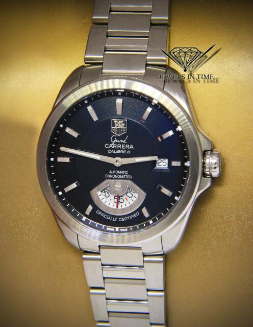c364496a4702 Tag Heuer Grand Carrera Steel Black Dial Mens 40mm Automatic Watch WAV511A