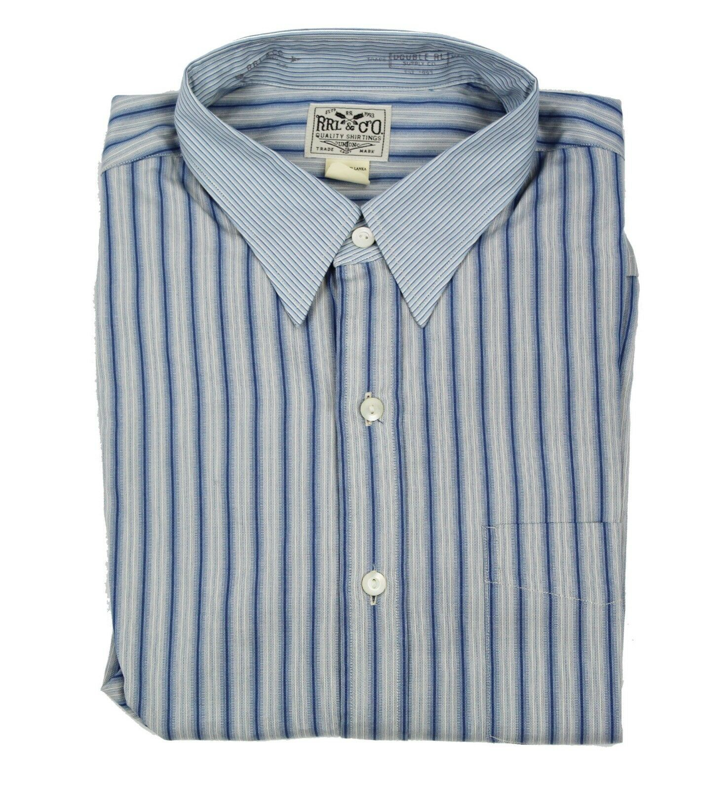 245 Double Ralph Lauren herren RRL Button Down Striped Eli Pocket Dress hemd NWT