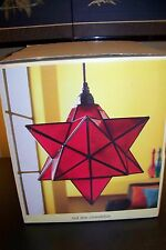Pier One 1 Imports Moravian Red Star Lamp Stained Glass Pendant Light Chandelier