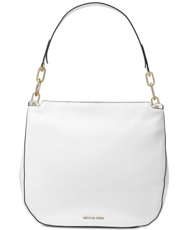 432b05d315 Michael Kors Leather Fulton Large Hobo Shoulder Bag Optic White for ...