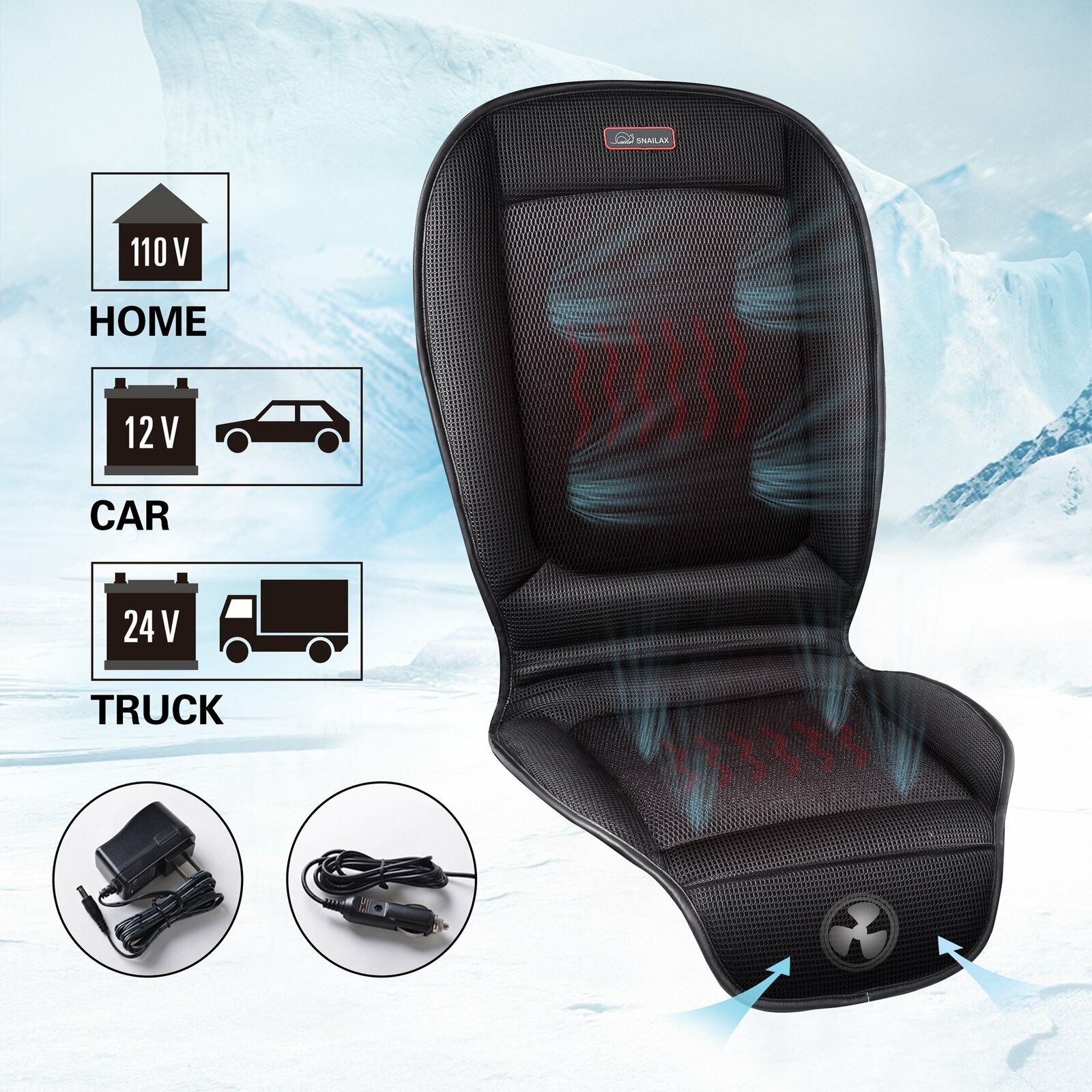 WARMITORY Heated Seat Cushion Cover Universial 12V//24V Seat Warmer with 3 Levels Intelligent Heating Setting Automatic Shut-Off Timer Leatheret Beige Headrest Seat Heater for Full Chair Seat