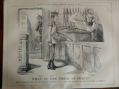 "7x10"" PUNCH cartoon 1855 WHAT IS PRICE OF PEACE palmerston , crimea"