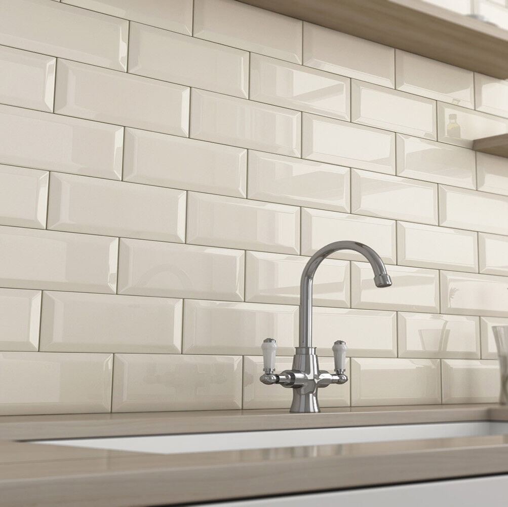 Kitchen Wall Tiles Types: Brick Bevel Cream 10x10cm Cut Sample Ceramic Wall Tiles