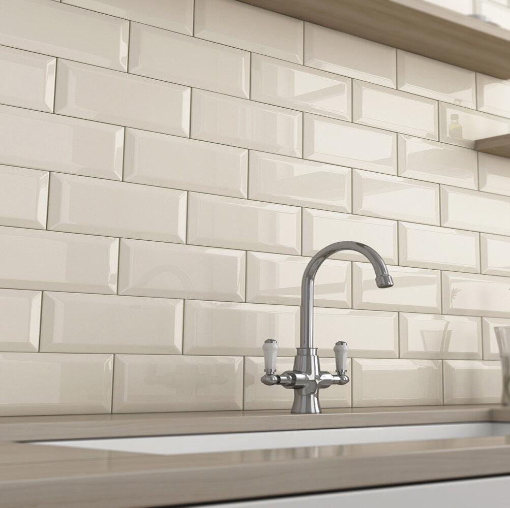 Kitchen Wall Tiles Ivory: Metro Brick Bevel Cream 10x10cm Cut Sample Ceramic Wall
