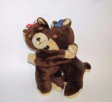 """Dakin Vintage Plush Brown Tan Hugging Bears 1977 10"""" Korea blue hat pink bow"""