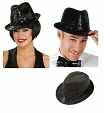 ADULT GANGSTER SEQUIN BLACK HAT Fedora Trilby Jazz Glitter Fancy Dress  Costume 3277c353c9a2