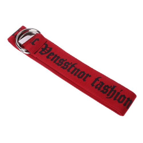 Unisex Nylon toile ceintures Letter Printing Thai D Ring Double Buckle Belt