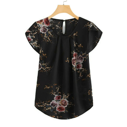 Women Casual Round Neck Floral Pleated Top Cap Short Sleeve Shirt Blouse CA