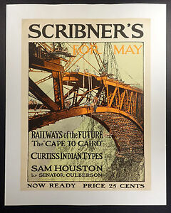 Vintage Scribner's poster Frank B. Masters Railways of the Future circa 1900
