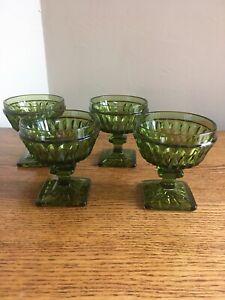 SET-OF-4-Vintage-Indiana-Glass-MT-VERNON-GREEN-3-3-4-034-Champagne-Sherbet