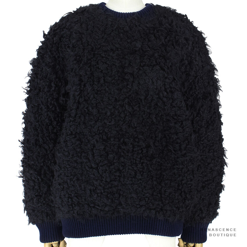 Stella McCartney McCartney McCartney Navy Bleu Noir Pince ultra-Touffu Jumper Sweater it40 uk8 460b11