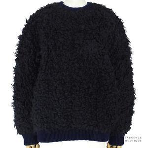 Stella-McCartney-Navy-Blue-Black-Oversized-Ultra-Fluffy-Jumper-Sweater-IT40-UK8