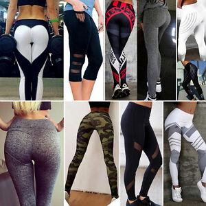 High Waist Women Yoga Fitness Leggings Running Gym Stretch Sports Pants Trousers