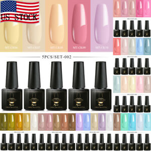 MTSSII-5Bottles-set-6ml-Pure-Color-Soak-Off-UV-Gel-Nail-Polish-Varnish-Manicure